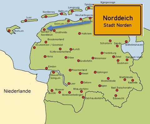 karte norddeich Karte Norddeich Nordsee | hanzeontwerpfabriek